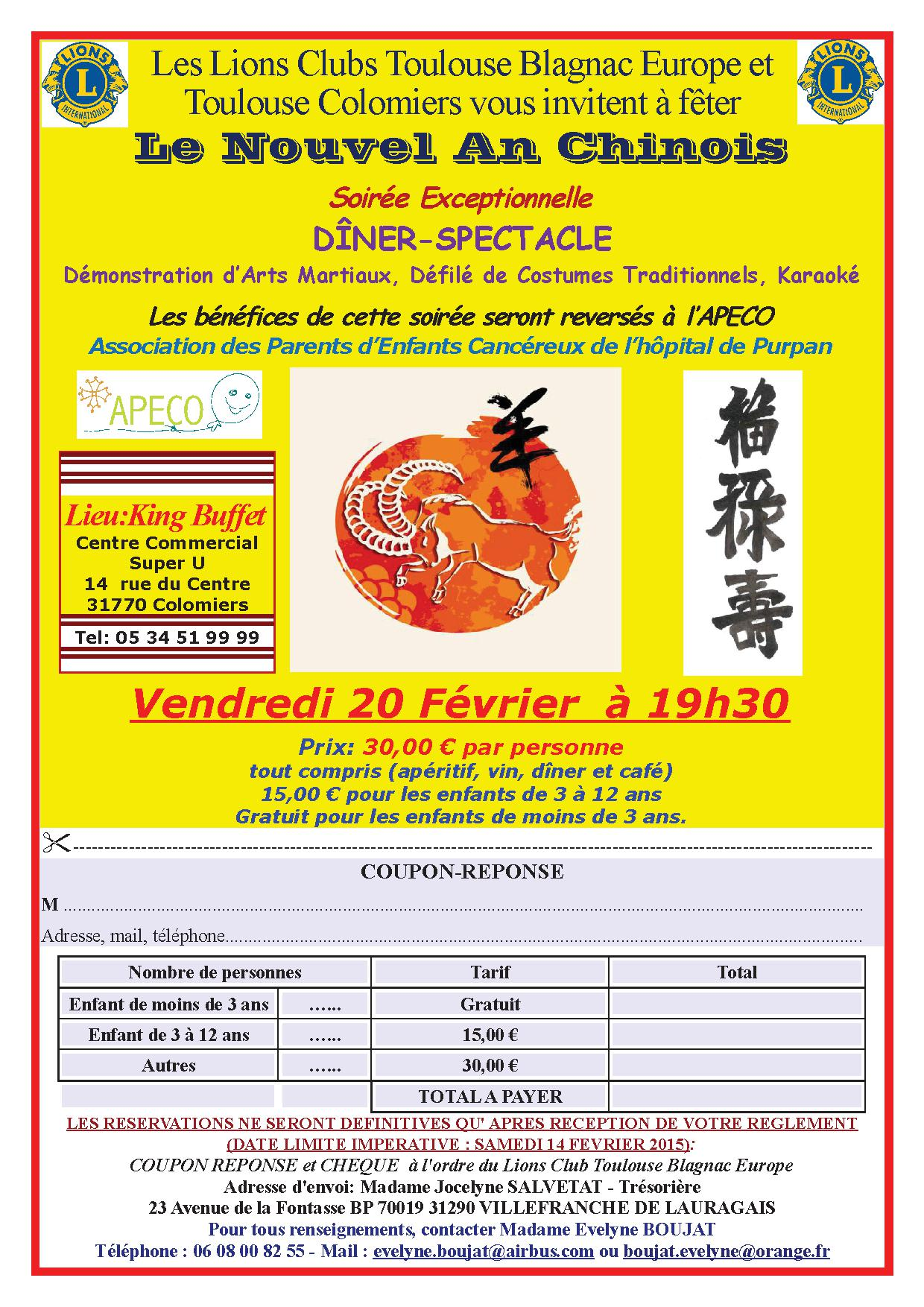 RESERVATIONS NOUVEL AN CHINOIS 2015 avec coupon